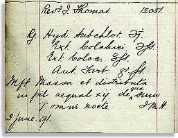 Prescription for Revd J Thomas