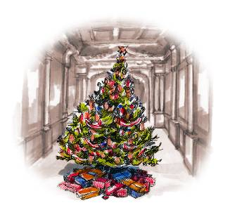 Christmas tree in Craig-y-Nos theatre, illus. by Rob Davies